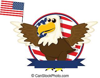 Cute cartoon American bald eagle