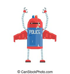 Cute cartoon android policeman character vector Illustration
