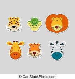 Cute cartoon animal faces set