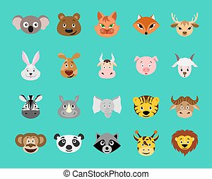 Cute cartoon animal head icon set. Funny animal portrait flat style for children.