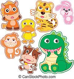 cute cartoon animal set