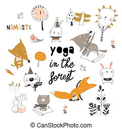 Cute cartoon animals doing yoga exercises in the forest