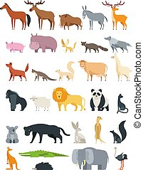 Cute cartoon animals. Forest, savannah and farm animal vector collection isolated on white