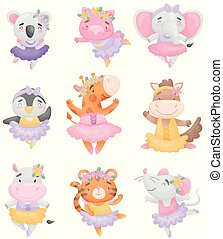 Cute cartoon animals in ballerina dresses. Vector illustration on white background.