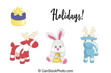 Cute cartoon animals isolated on white background. Vector illustration of adorable plush holiday animals