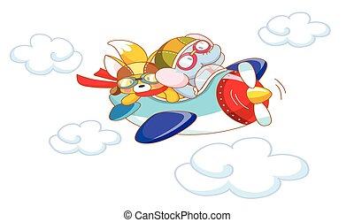 cute cartoon animals on a plane