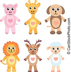 Cute cartoon animals set. Baby animals on a white background. Vector illustration