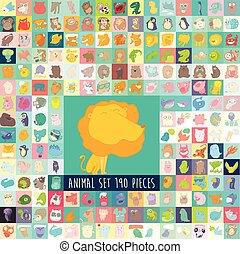 Cute Cartoon Animals Set, Vector Hand Drawn