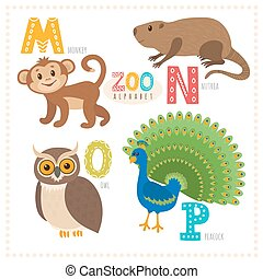 Cute cartoon animals. Zoo alphabet with funny animals. M, n, o, p letters. Monkey, nutria, owl, peacock
