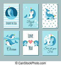 Cute cartoon anime narwhal romance cards. Posters with funny kawaii baby unicorn whale vector characters