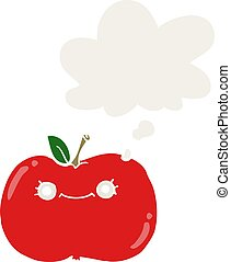 cute cartoon apple and thought bubble in retro style