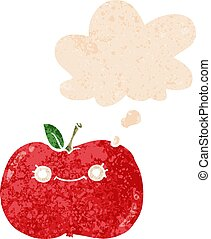 cute cartoon apple and thought bubble in retro textured style