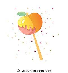 Cute cartoon apple caramel icon. Caramelized apple icon with...