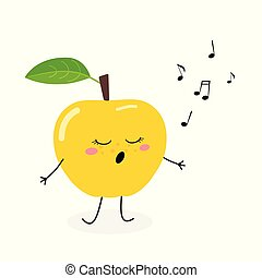Cute cartoon apple singer