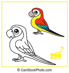 Cute cartoon Ara parrot color and outlined on a white background for coloring page