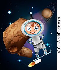Cute cartoon astronaut surfing on jet board in front of asteroid