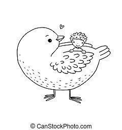 Cute cartoon baby and big bird.