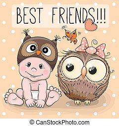 Cute cartoon baby and owl