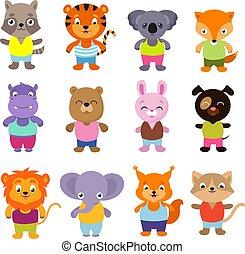 Cute cartoon baby animals vector set