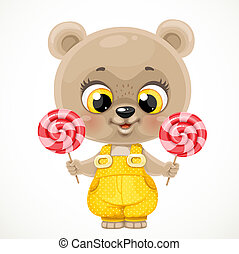 Cute cartoon baby bear with candies in hands isolated on a white background