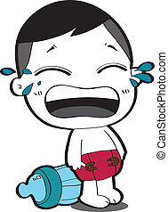 Cute cartoon baby crying.
