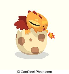 Cute cartoon baby dragon hatching from egg, funny fantasy animal character vector Illustration on a white background