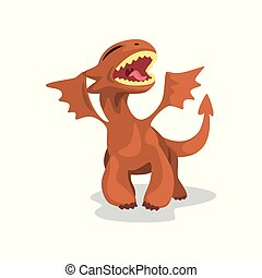 Cute cartoon baby dragon with wings, funny fantasy animal character vector Illustration on a white background