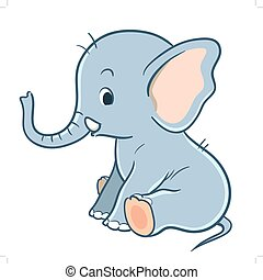 Cute cartoon baby elephant - Vector hand drawn cartoon...