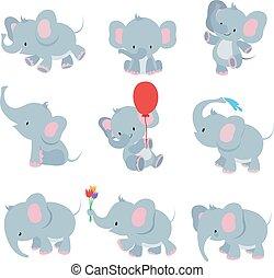 Cute cartoon baby elephants. Animals african safari animals vector set