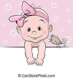 Cute cartoon baby girl and a bird on a pink background