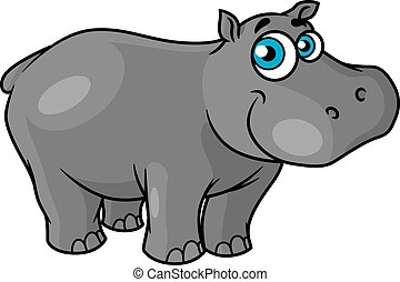 Cute cartoon baby hippo with blue eyes and a happy smile...