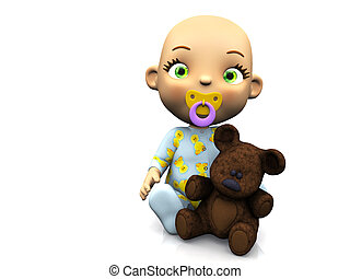 Cute cartoon baby holding a teddy bear.