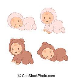 Cute cartoon baby in fuzzy bear onesie, sleeping and crawling. Adorable vector newborn illustration set.