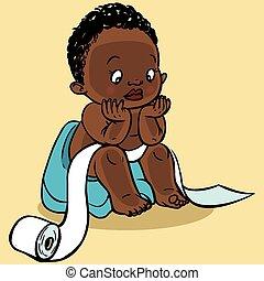 Cute cartoon baby in the toilet. Vector illustration