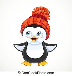 Cute cartoon baby penguin in warm knitted hat with a pompom isolated on white background