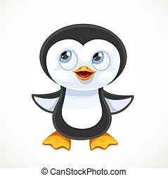 Cute cartoon baby penguin isolated on white background