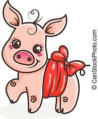 Cute cartoon baby pig