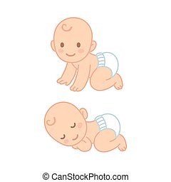 Cute cartoon baby sleeping and crawling - Cute cartoon baby...