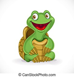 Cute cartoon baby turtle isolated on white background