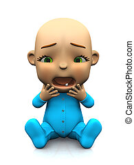 Cute cartoon baby unhappy and screaming.