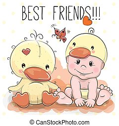 Cute Cartoon Baby in a duck hat and a duck