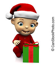 Cute cartoon baby with Christmas gift.