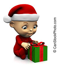 Cute cartoon baby with Christmas gift nr 2.