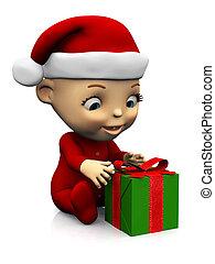 Cute cartoon baby with Christmas gift nr 2.