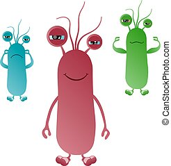 A set of abstract colorful funny intestinal bacteria with flagella that afraid, smiling, showing muscles. Vector illustration
