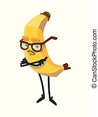cute cartoon banana with glasses. cheerful fruit on a white background