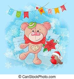 Cute cartoon bear and bullfinch. Greeting card for New Year and Christmas. Vector illustration