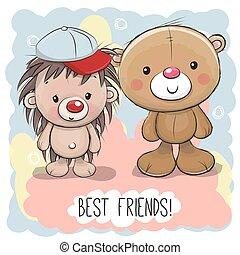 Cute Cartoon Bear and Hedgehog