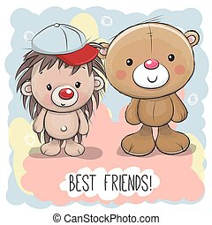 Cute Cartoon Bear and Hedgehog