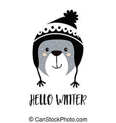 cute cartoon bear boy in winter hat